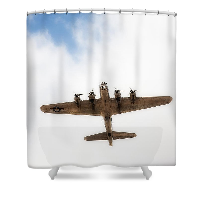 B-17 Shower Curtain featuring the photograph B-17 Flyover by Hugh Smith