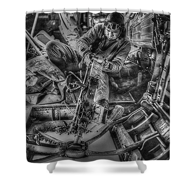 Wwii Shower Curtain featuring the photograph B-24 Bomber Belly Gunner - 1943 by Daniel Hagerman