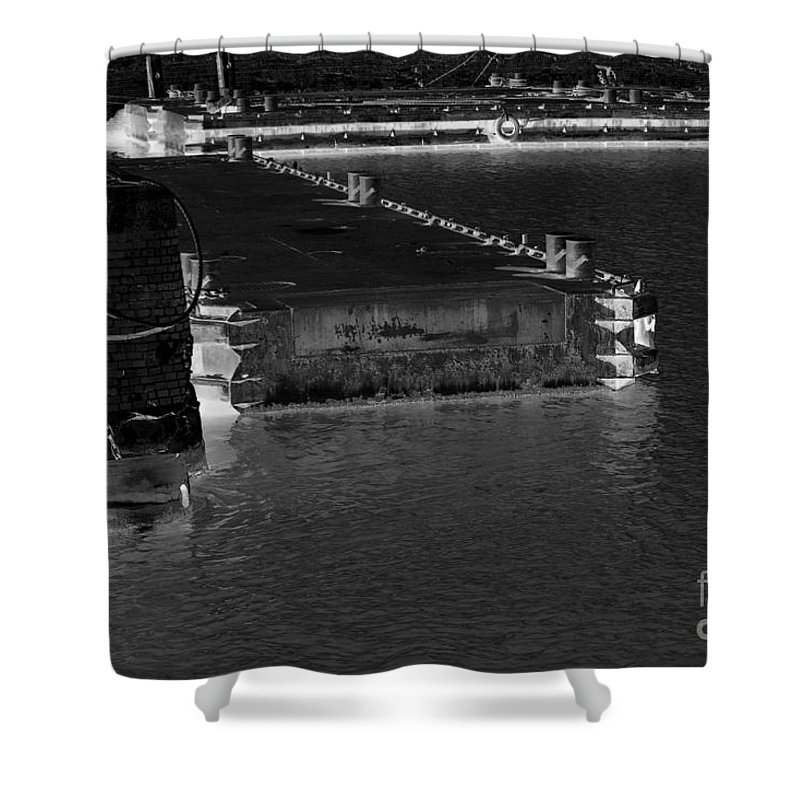 River Shower Curtain featuring the photograph B And W Port by Four Hands Art