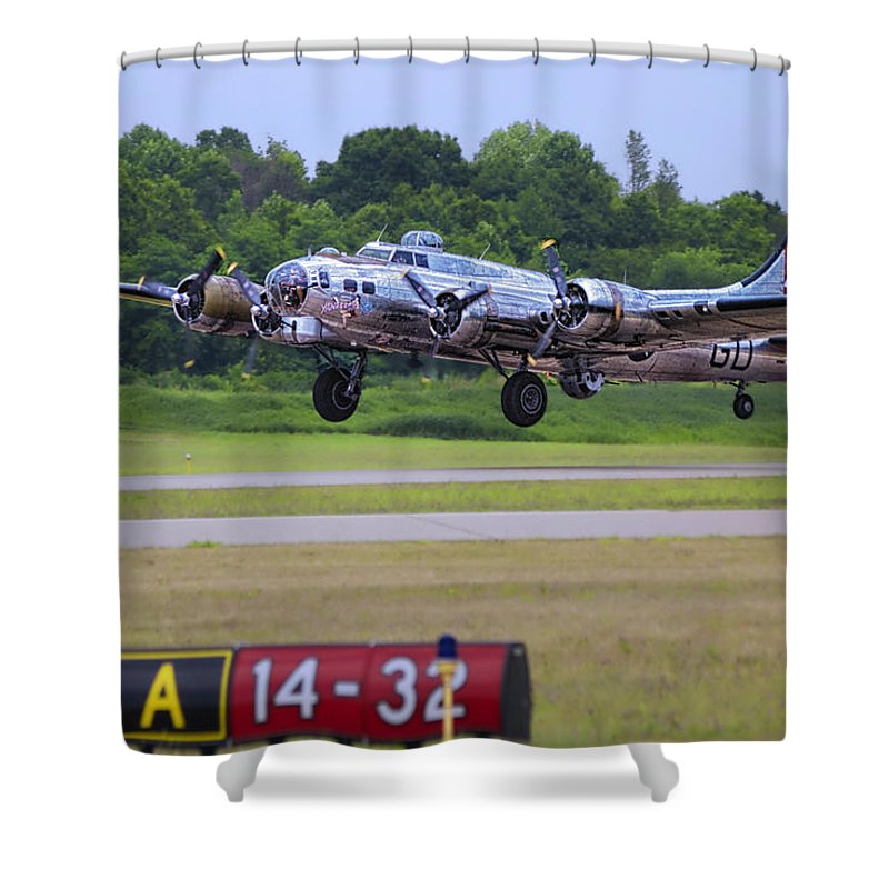 Flying Fortress Shower Curtain featuring the photograph B17 Bomber Taking Off by Thomas Woolworth