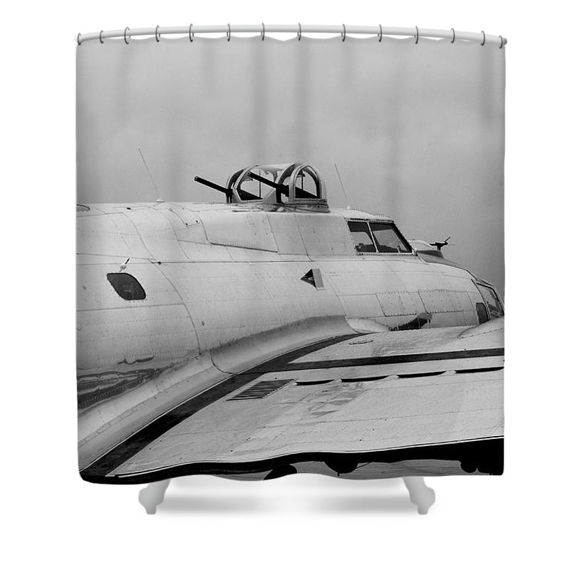 Flying Fortress Shower Curtain featuring the photograph B17 Bomber by Thomas Woolworth