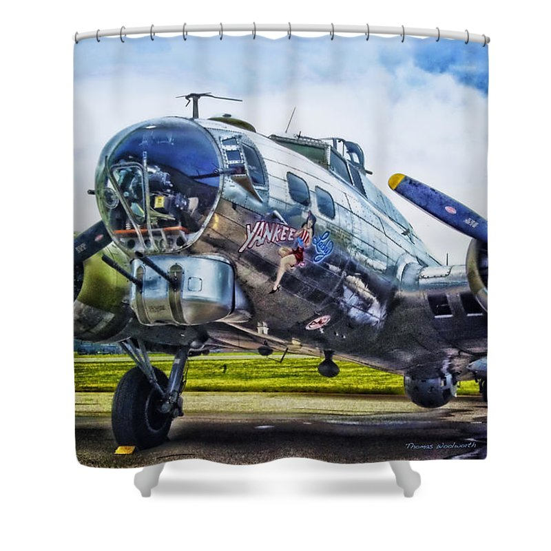 Flying Fortress Shower Curtain featuring the photograph B17 Bomber Yankee Lady by Thomas Woolworth