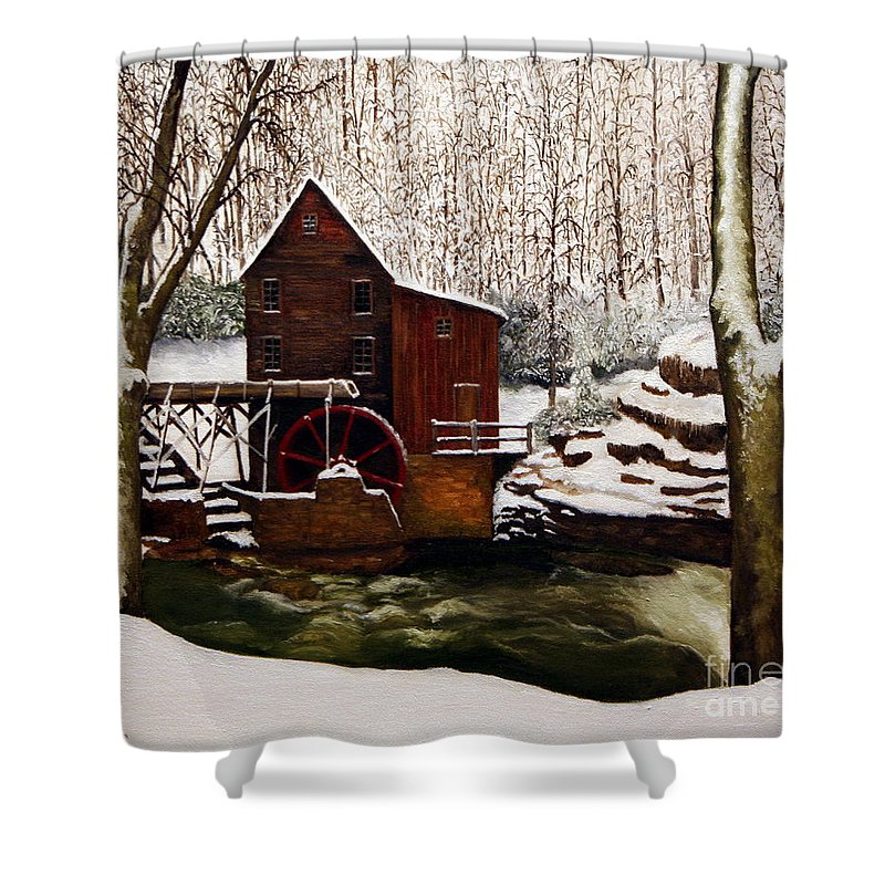 Landscape Shower Curtain featuring the painting Babcock Mill In The Snow by Timothy Smith