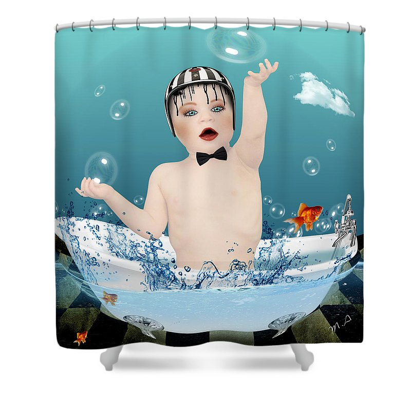 Funny Shower Curtain featuring the photograph Baby Fun Time by Mark Ashkenazi