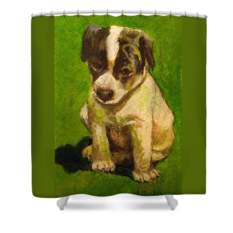 Baby Jack Russel Shower Curtain featuring the painting Baby Jack Russel by Donna Tucker