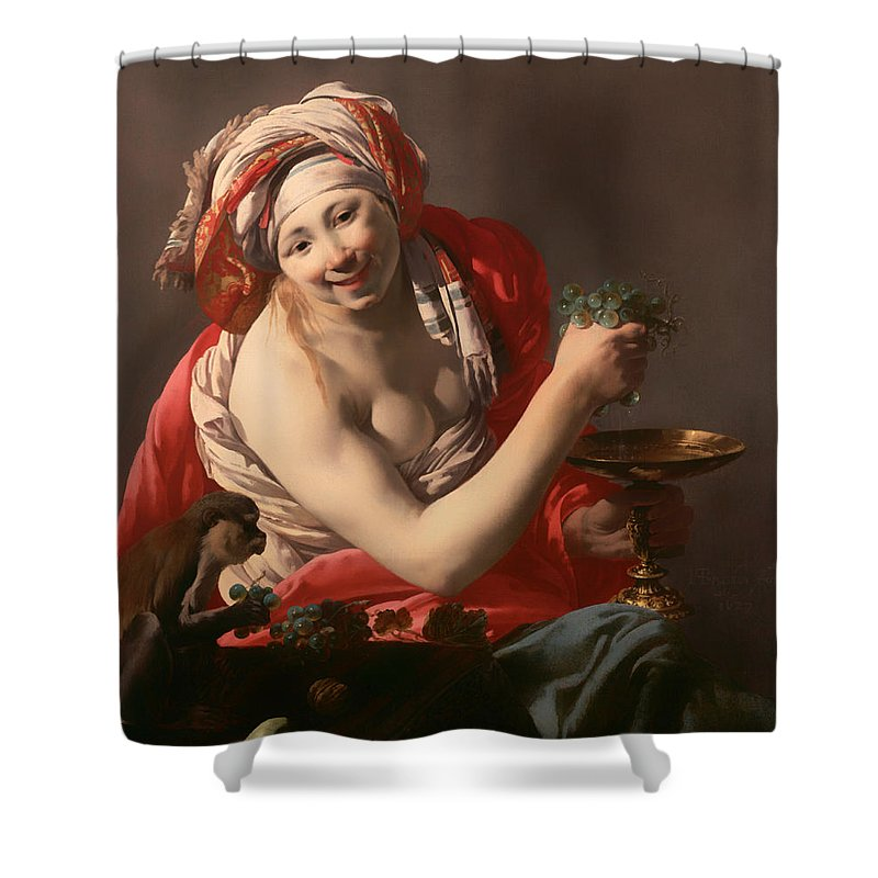 Painting Shower Curtain featuring the painting Bacchante With An Ape by Mountain Dreams