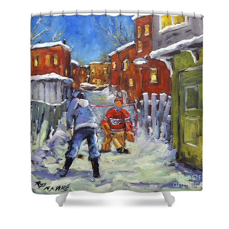 Mini Oil Painting Hockey Players Playing On Theirs Back Lane Yar Shower Curtain featuring the painting Back Lane Hockey Shoot Out By Prankearts by Richard T Pranke