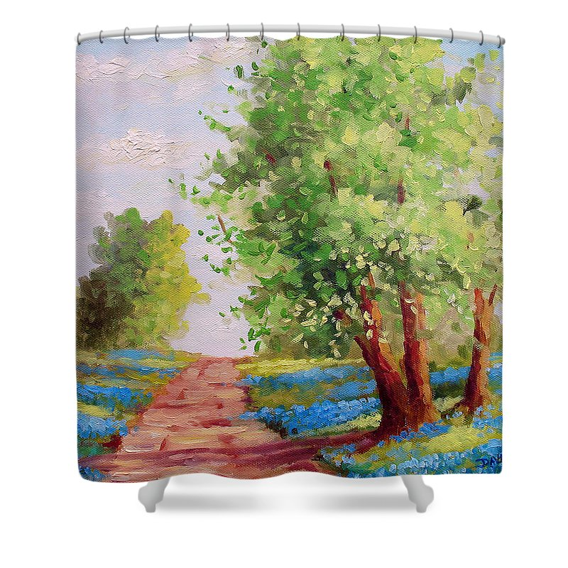 Bluebonnets Shower Curtain featuring the painting Backroad Bluebonnets by David G Paul