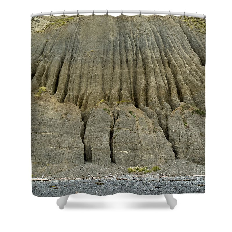 Background Shower Curtain featuring the photograph Badland Erosion Of Soft Conglomerate Sediment by Stephan Pietzko