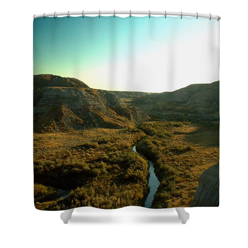 Coulee Shower Curtain featuring the photograph Badlands Coulee by Matthew Naiden