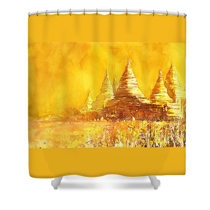 10th Century Shower Curtain featuring the painting Bagan Heat by Ryan Fox