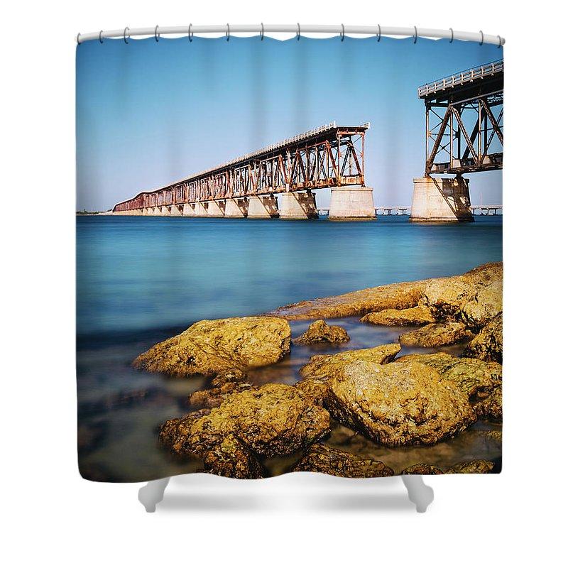 Seascape Shower Curtain featuring the photograph Bahia Honda State Park Florida by Ferrantraite
