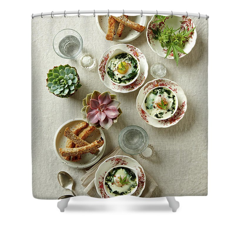 Social Issues Shower Curtain featuring the photograph Baked Eggs Infused With Marijuana by Lew Robertson