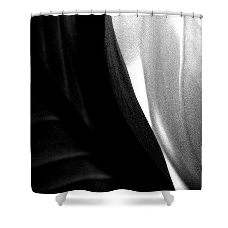black And White Prints Shower Curtain featuring the photograph Balance by Amanda Barcon