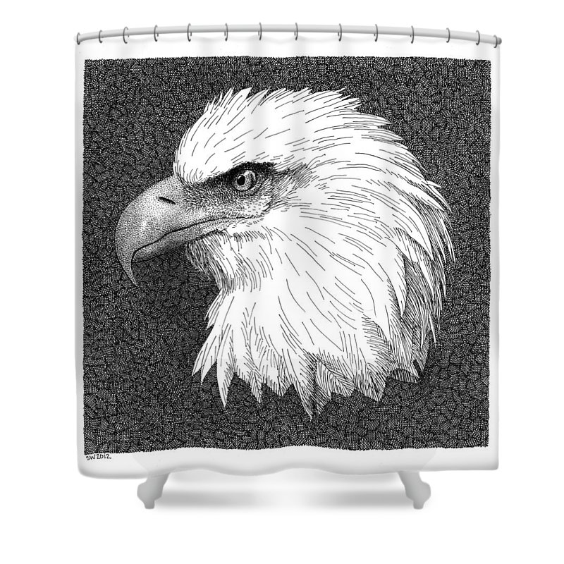 Bald Eagle Shower Curtain featuring the drawing Bald Eagle by Scott Woyak
