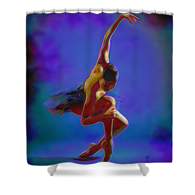 Art Shower Curtain featuring the painting Ballerina On Point by Fli Art