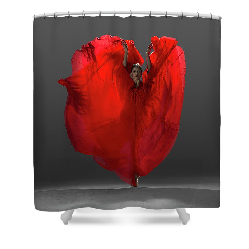 Ballet Dancer Shower Curtain featuring the photograph Ballerina On Pointe With Red Dress by Nisian Hughes