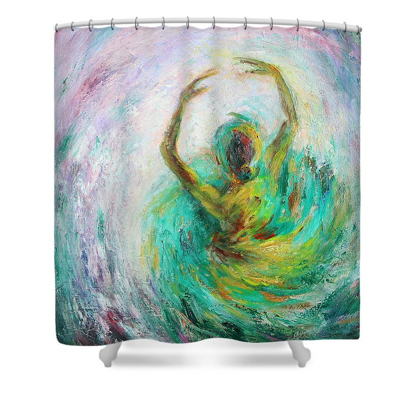 Ballet Shower Curtain featuring the painting Ballerina by Xueling Zou
