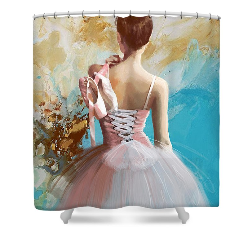 Women Shower Curtain featuring the painting Ballerina's Back by Corporate Art Task Force