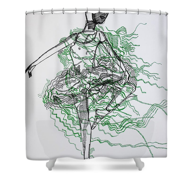 Jesus Shower Curtain featuring the drawing Ballet by Gloria Ssali