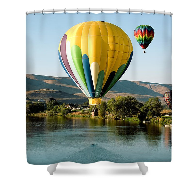 Photo Shower Curtain featuring the photograph Balloon Reflections by David Patterson