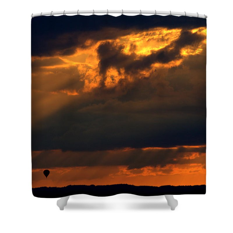Hot Air Balloon Shower Curtain featuring the photograph Ballooning With The Gods by Roger Parker