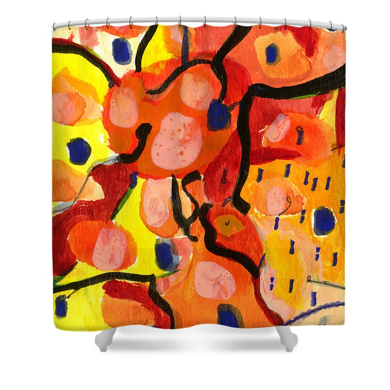 Abstract Art Shower Curtain featuring the painting Balloons At Mid-day by Stephen Lucas