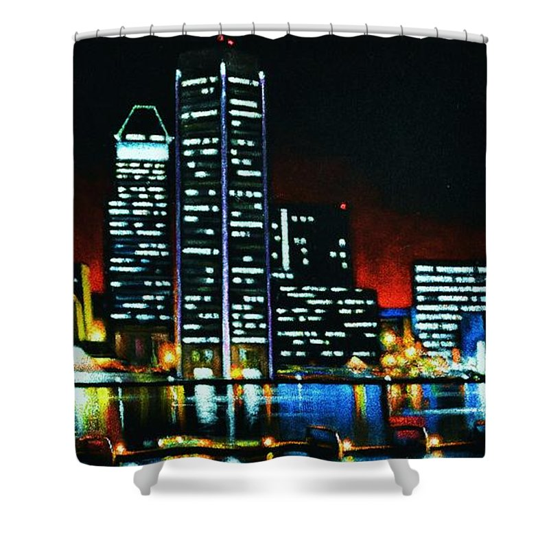 Black Velvet Paintings Shower Curtain featuring the painting Baltamore by Thomas Kolendra