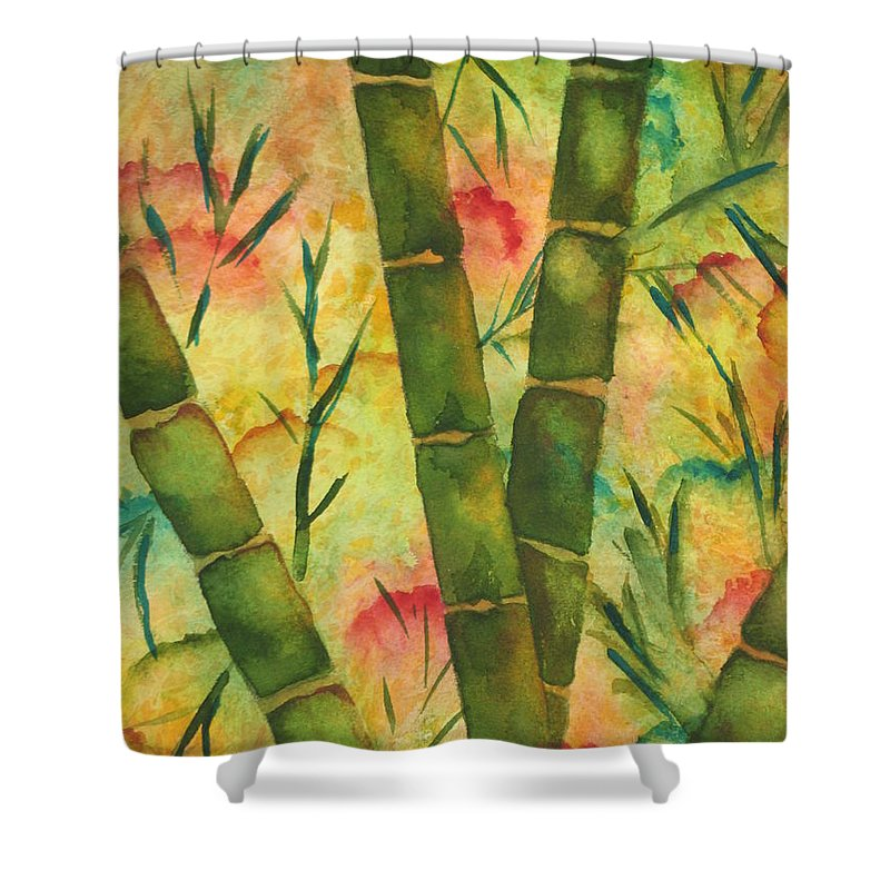 Fine Art Painting Shower Curtain featuring the painting Bamboo Garden by Chrisann Ellis