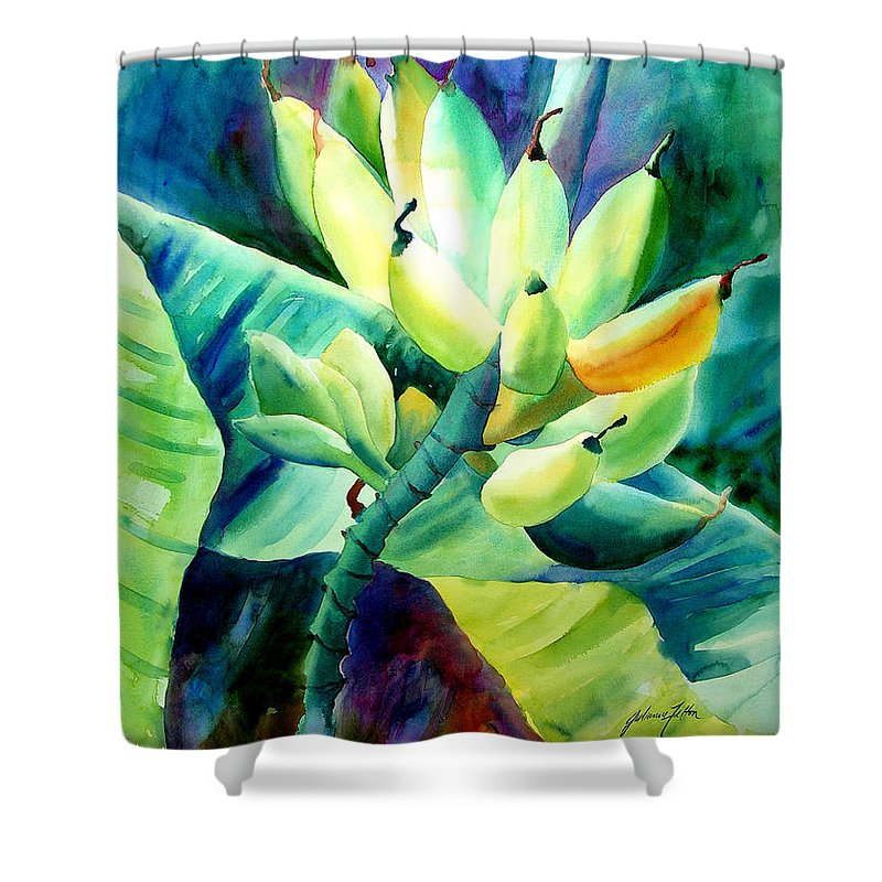 Watercolor Shower Curtain featuring the painting Bananas 6-12-06 Julianne Felton by Julianne Felton