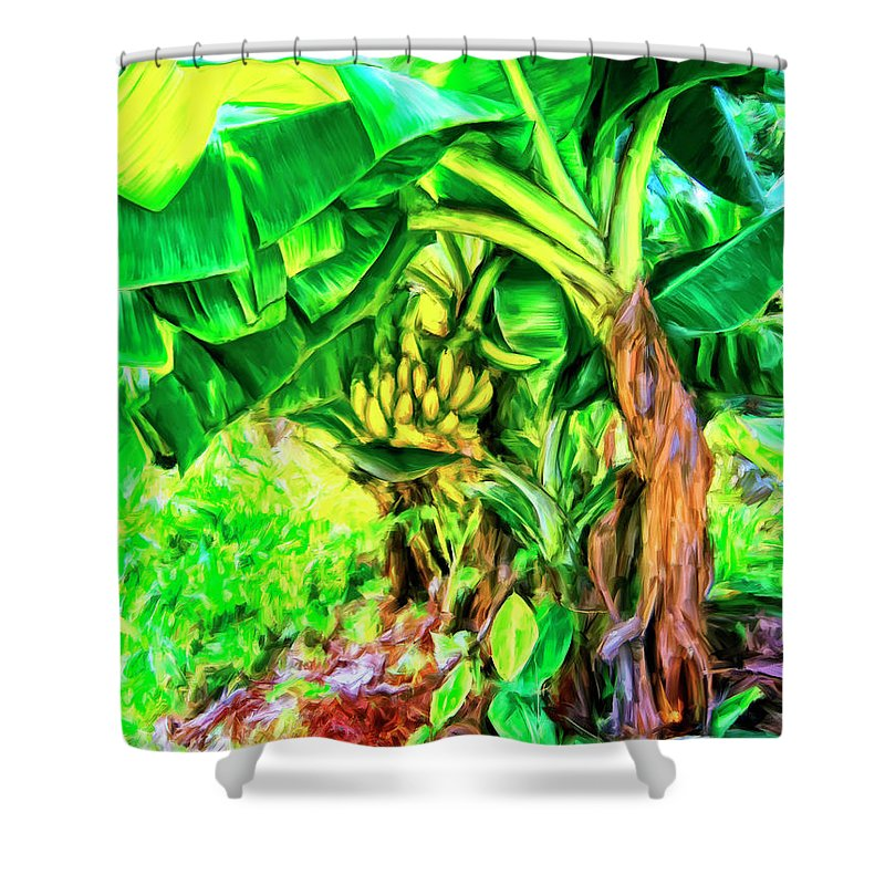 Bananas In Lahaina Shower Curtain featuring the painting Bananas In Lahaina Maui by Dominic Piperata