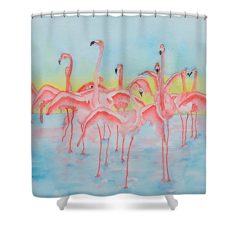 Flamingos Shower Curtain featuring the painting Band On The Run by Rhonda Leonard