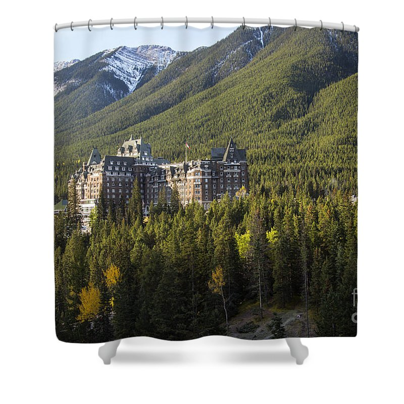 Banaff National Park Canada Parks Tree Trees Building Buildings Hotels Fairmont Springs Hotel Landscape Landscapes Nature Snow Mountain Canadian Rockies Rocky Mountains Shower Curtain featuring the photograph Banff Fairmont Springs Hotel by Bob Phillips