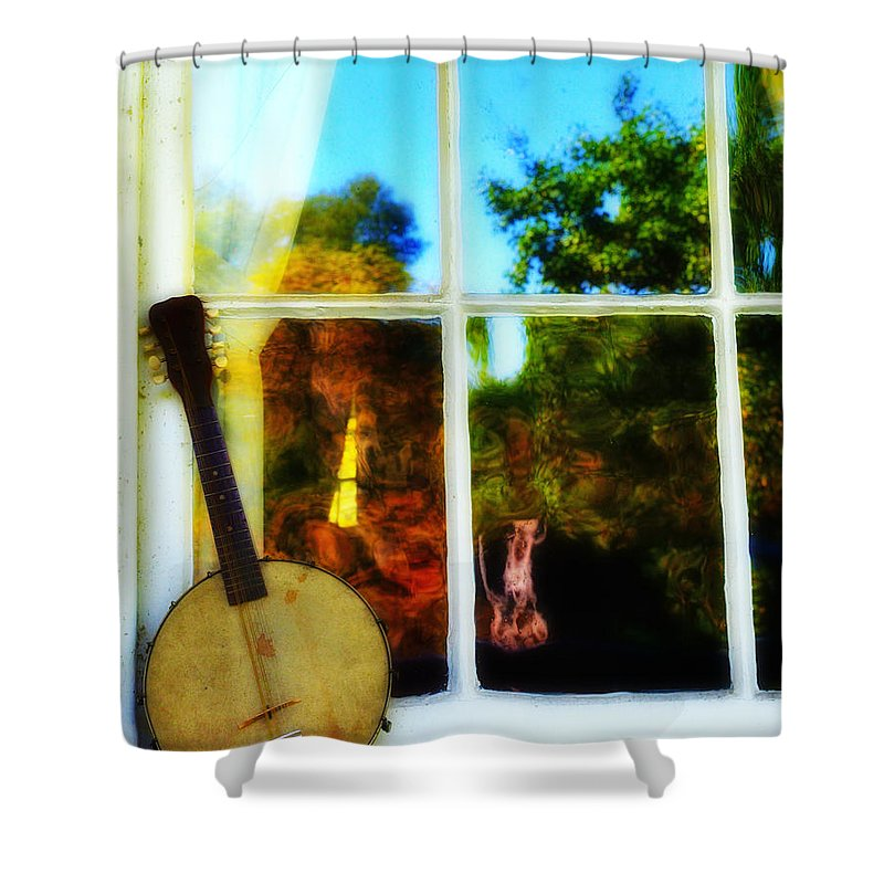 Banjo Shower Curtain featuring the photograph Banjo Mandolin In The Window by Bill Cannon