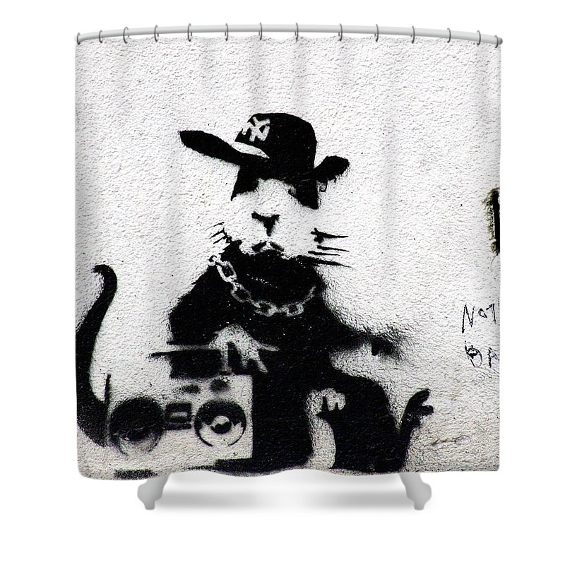 London Shower Curtain Featuring The Photograph Banksy Boombox By A Rey