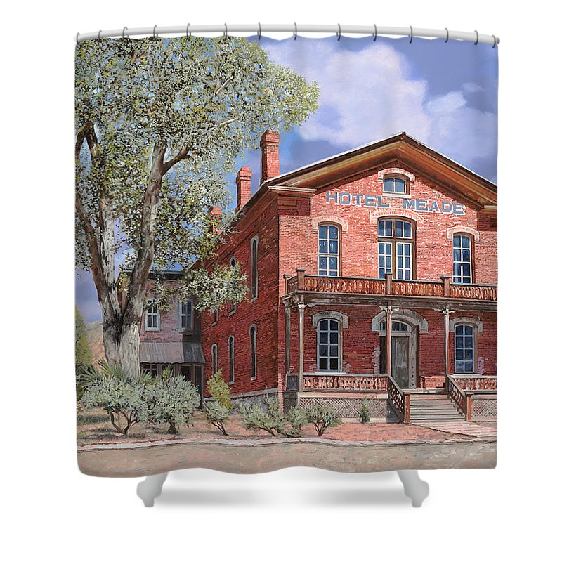 Montana Shower Curtain featuring the painting Bannock-montana-hotel Meade by Guido Borelli