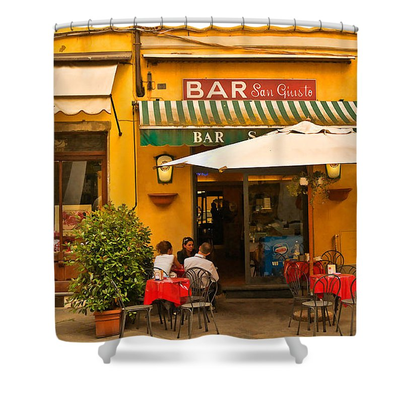 Lucca Shower Curtain featuring the digital art Bar San Giusto by Mick Burkey