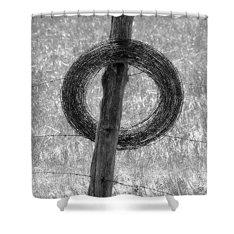 Barbed Wire Shower Curtain featuring the photograph Barbed by John Cardamone