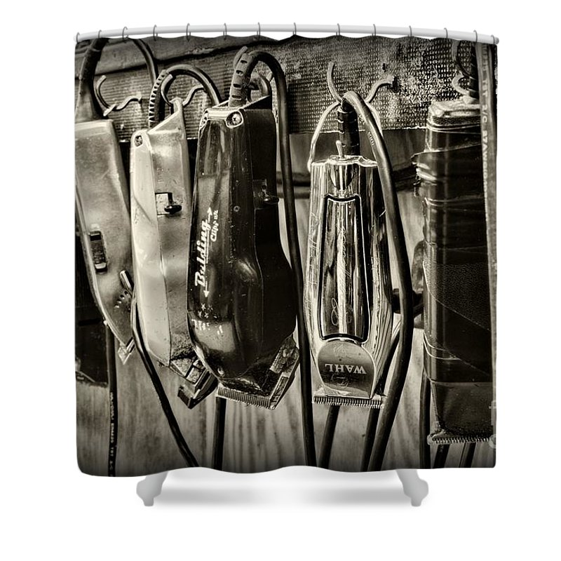 Vintage Barber Shower Curtain Featuring The Photograph Barbershop Clippers In Black And White By Paul Ward