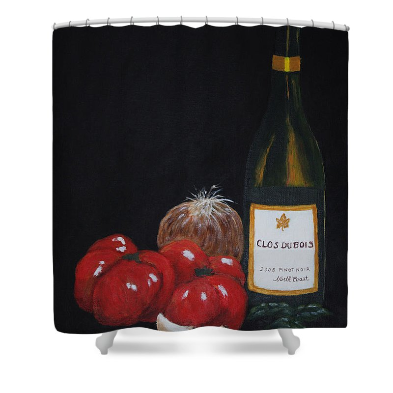 Wine Shower Curtain featuring the painting Barb's Italian Sauce Mix by Patricia Novack