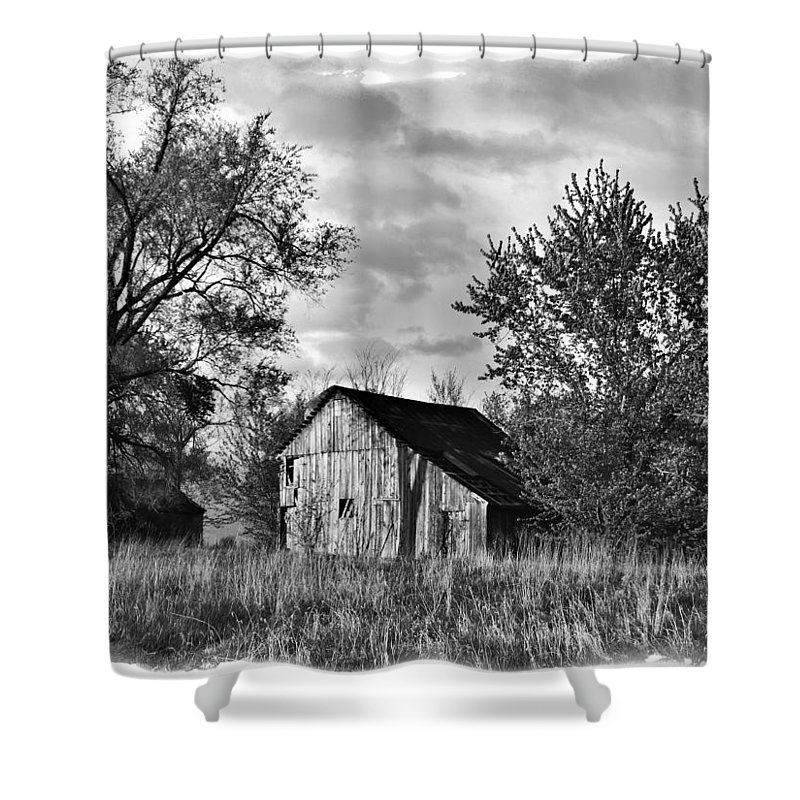 Barn Shower Curtain featuring the photograph Barn And Clouds by IMH Photog