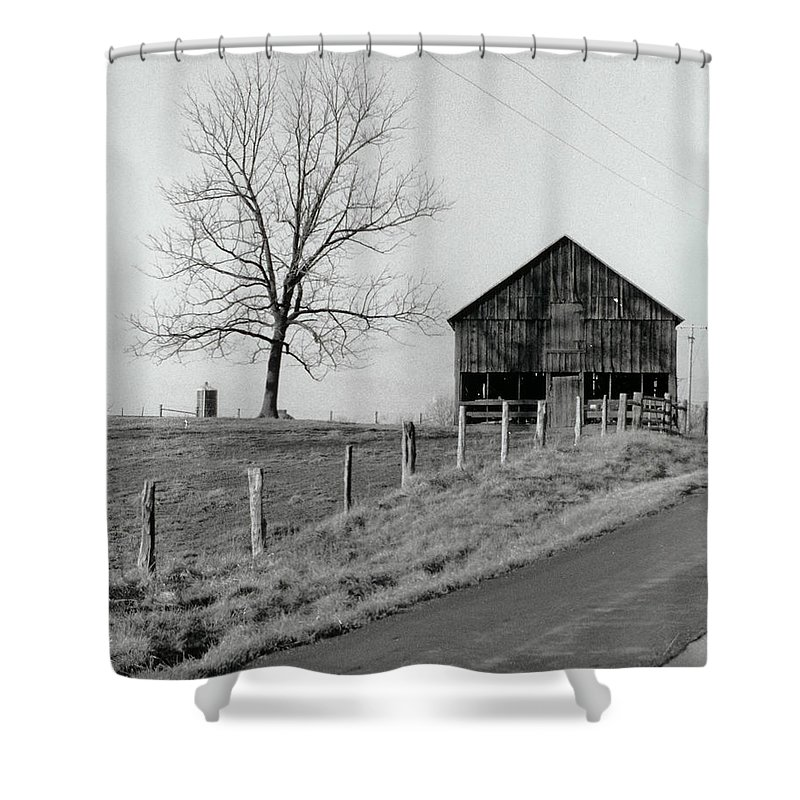 Tree Shower Curtain featuring the photograph Barn And Tree by IMH Photog