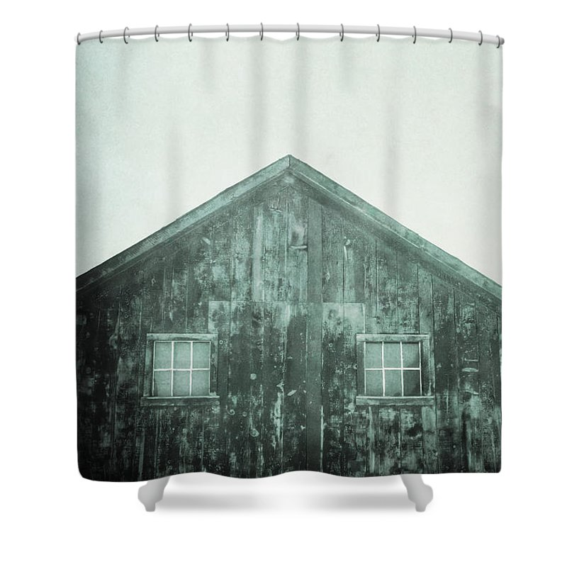 Barn; Shed; Wood; Wooden; Country; Rural; Desert; Deserted; Worn; Abandoned; Ruins; Blue; Green; Haze; Creepy; Darkness; Windows; Closed; Facade Shower Curtain featuring the photograph Barn by Margie Hurwich