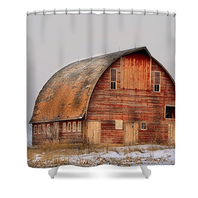 Rustic Shower Curtain featuring the photograph Barn On The Hill by Bonfire Photography