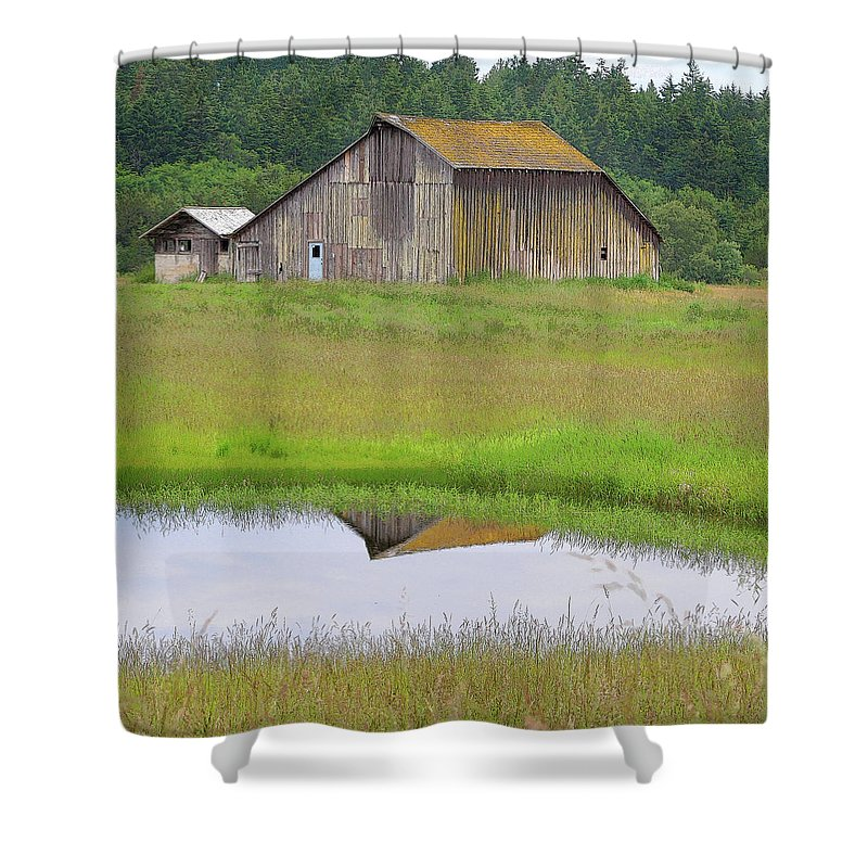 San Juan Island Shower Curtain featuring the photograph Barn Reflection by Art Block Collections