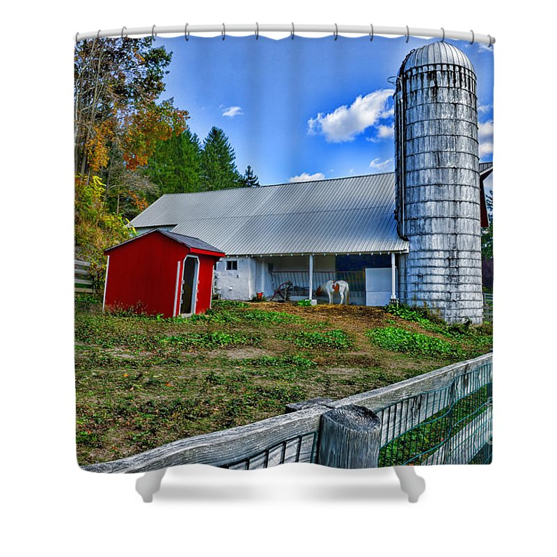Paul Ward Shower Curtain featuring the photograph Barn - The Old Horse by Paul Ward