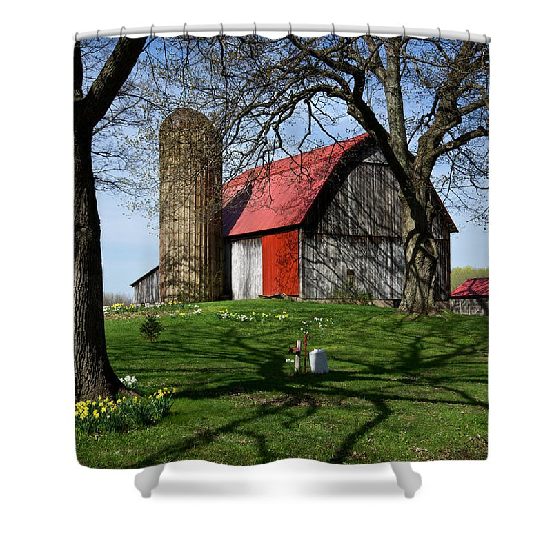 Barn Shower Curtain featuring the photograph Barn With Silo In Springtime by Mary Lee Dereske