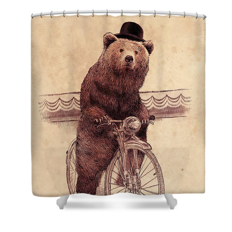 Bear Shower Curtain featuring the drawing Barnabus by Eric Fan