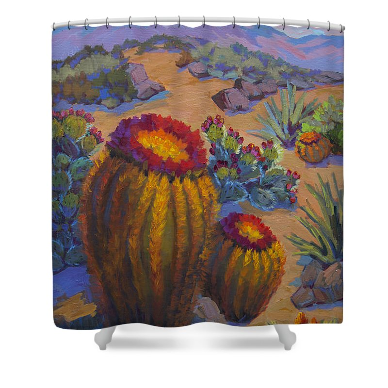 Cactus Shower Curtain featuring the painting Barrel Cactus In Warm Light by Diane McClary