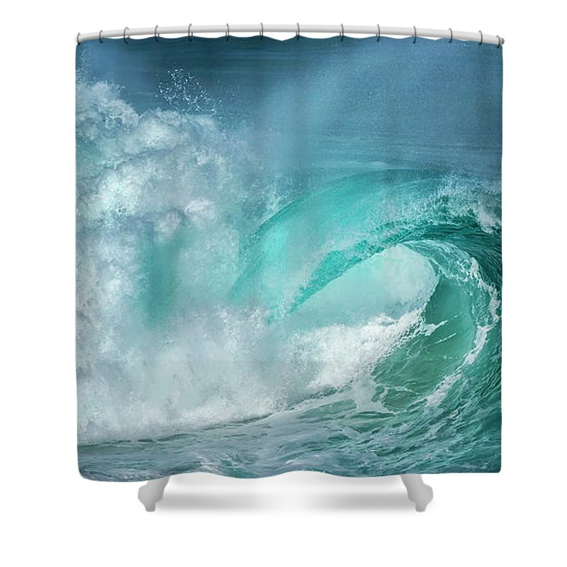 Panoramic Shower Curtain featuring the photograph Barrel In The Surf by Simon Phelps Photography